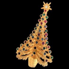 Layered Rhinestone Christmas Tree Pin
