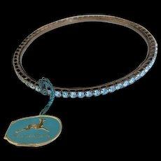 Vintage Schrager Blue Rhinestone Bangle Bracelet New with Tag