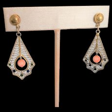 Chinese Silver Vermeil with Coral and Enamel Earrings