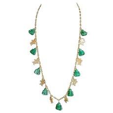 Mid Century Green Buddha Necklace