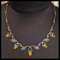 Sterling Silver and Tiger's Eye Necklace  Israel