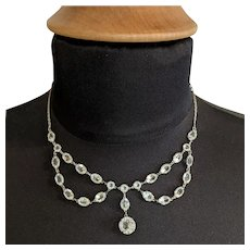 Edwardian Sterling with Crystal Festoon Necklace