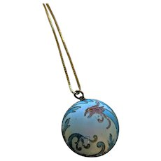 Sterling Silver Vermeil Chinese Enamel Dragon Pendant Necklace