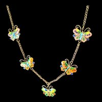 Chinese Silver Enamel Butterflies Necklace