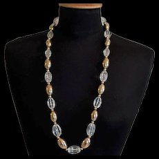 Napier Big and Bold Clear Lucite Melon Beads Necklace