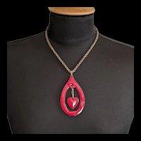 Mid Century Artisan Red Enamel Heart Pendant Necklace