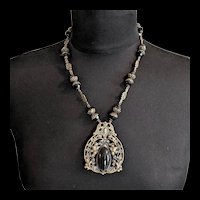 Victorian Revival Black Glass and Brass Necklace