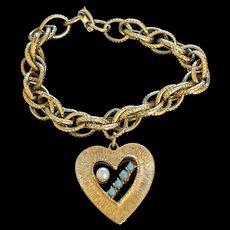 Vintage Fancy Link Heart Charm Bracelet