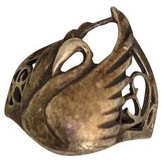 Sterling Silver Swan Ring Edwardian Era