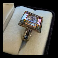 Heliotrope Colors Square Rhinestone Cocktail Ring