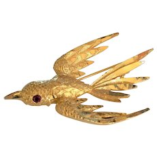 Mamselle Diamond Cut Bird Pin Brooch