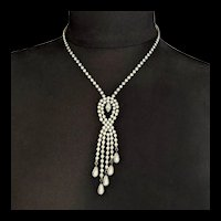 Rhinestone and Faux Pearl Drops Necklace