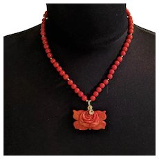 Red Coral Beads and Carved Rose Necklace
