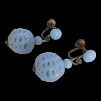 Pale Blue Poured Glass Beads Earrings