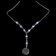 Sterling Blue Glass, Enameled Necklace