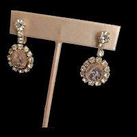 Flawed Pale Pink Glass Tourmaline Rhinestone Earrings