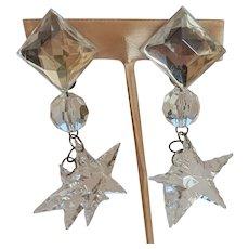 Large Clear Dangling Stars Earrings