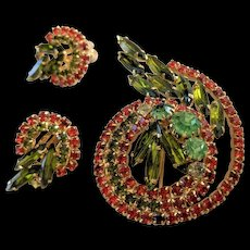 Orange Rhinestone Pin and Earrings