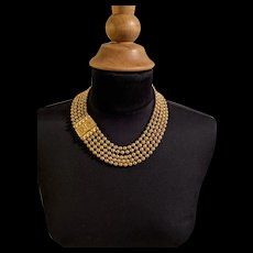 1930's Superb Five Strand Large Beadchain Necklace