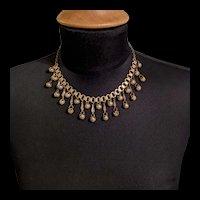 Art Deco Brass Fringe Necklace