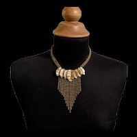 Art Deco Bead Chain Fringed Leaves Necklace