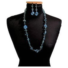 Azure Ocean Blue Lucite Necklace and Earrings