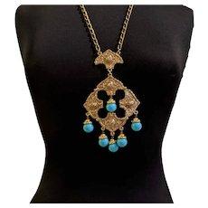 Large Blue Pendant Necklace