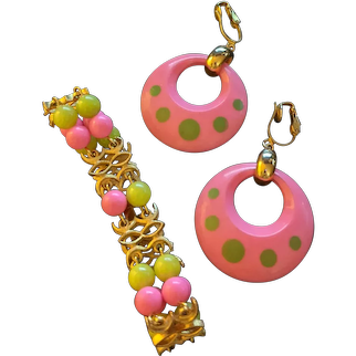 Mid Century Pink and Green Bracelet Earrings