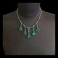 Emerald Green Glass and Brass Art Deco Necklace