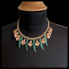 1920s Peachy Pink Glass Calla Lily Necklace