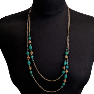 Jade Green Glass and Filligree Orbs 1910s Longchain Necklace