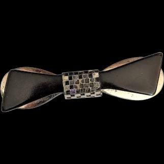 Black Bakelite Bow    Chrome Plated  Pin