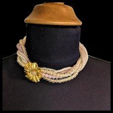 Trifari Shades of Pale Pink Torsade Necklace