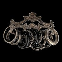 Victorian Revival Bar Pin with Rings