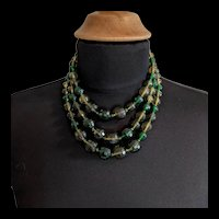 Green Prystals Three Strands Necklace