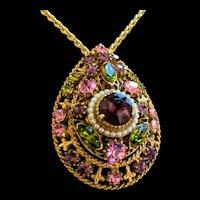 Dazzling Florenza Rhinestone Pendant Necklace and Pin