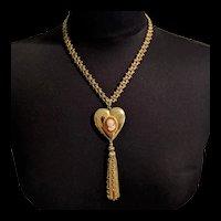 Mid Century Monet Heart Cameo Locket Necklace