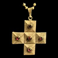 Sterling and Garnet Cross Pendant Necklace