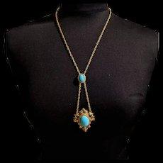Victorian Revival Turquoise Blue Pendant Necklace