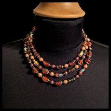 Dazzling Vendome Orange and Amber Color Beads Necklace