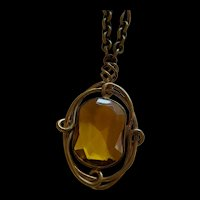 Art Nouveau Brass and Amber Glass Pendant Necklace
