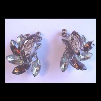 Vintage Judy Lee Reverse Carved Glass Rhinestone Earrings