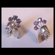 Vintage Eisenberg Sterling and Rhinestone Earrings