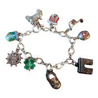 Vintage 800 Silver Enamel Travel Tourist Souvenir Charm Bracelet Europe