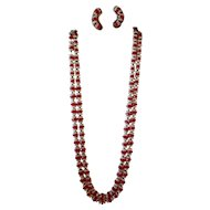 Vintage Hobe Double Strand Necklace and Clip Back Earring Set