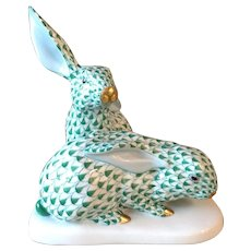 ON SALE***Vintage Herend Hungary Green Fishnet Bunny Rabbits Easter Mint