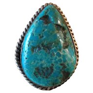 Vintage Old Pawn Navajo Turquoise Sterling Silver Statement Ring size 9 ½