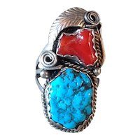 Old Pawn Large Navajo Sterling Silver Coral Turquoise Ring Size 10