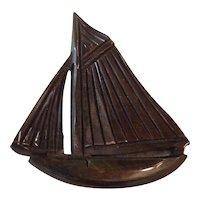 Vintage Deep Carved Bakelite Sailboat Pin