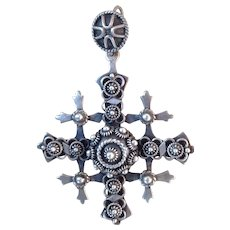 Vintage Taxco Sterling Silver Yalalag Wedding Cross Pendant Mexico